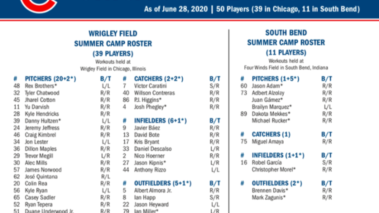 Cubs summer camp roster