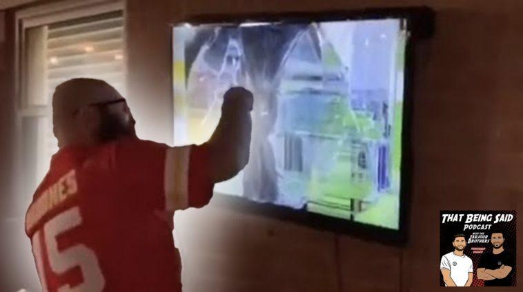 chiefs fan breaks tv